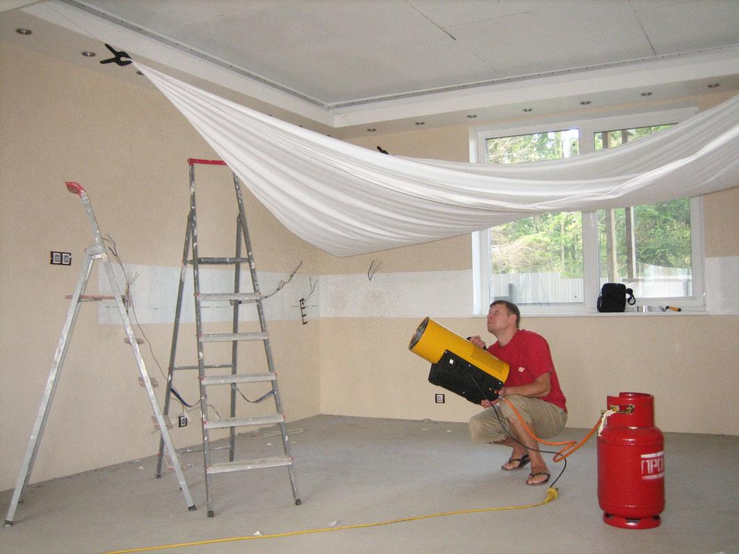 Как установить натяжной потолок своими руками