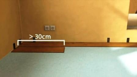 Длинна первой доски в ряду ламината , не должна быть меньше 30 см.