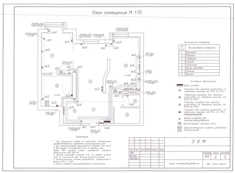 схема электропроводки в 2-ух комнатной квартире