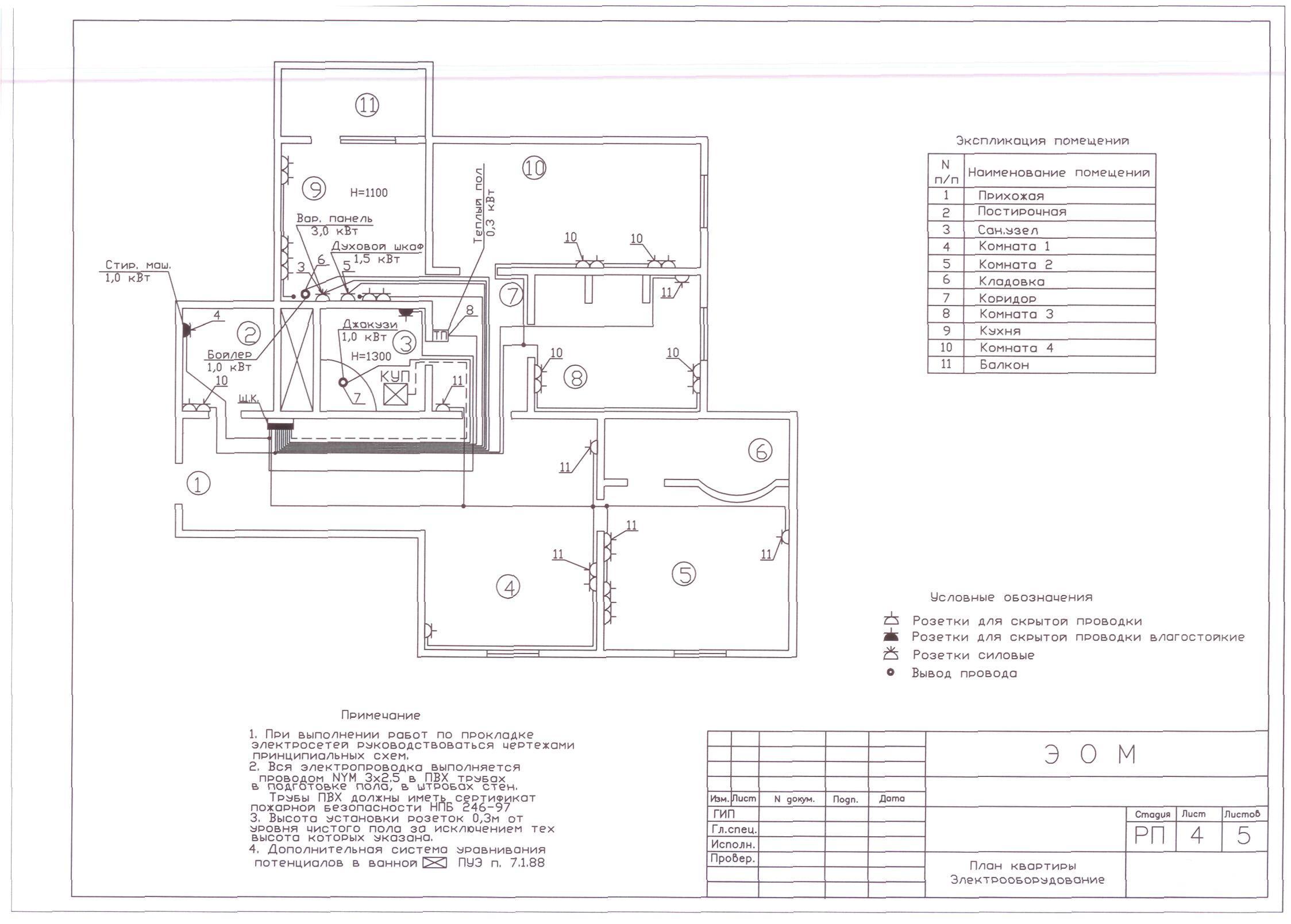 электрическая схема в 4 комнатной квартире тип серия од