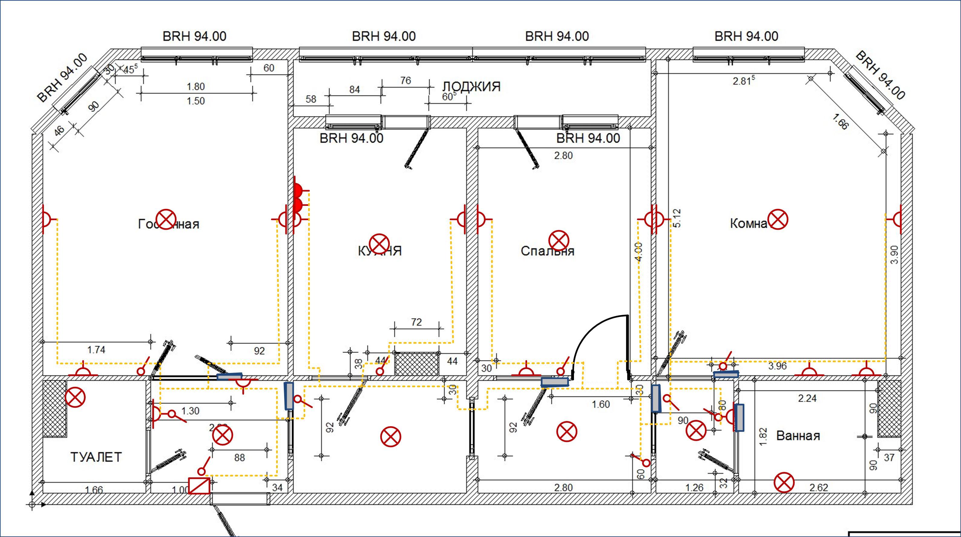 Схема расположения выключателей и розеток фото 847