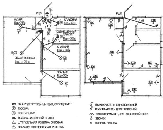 Электрическая схема на трехкомнатную квартиру панельного дома