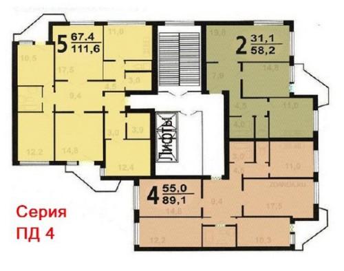 Схема 2 типовой секции дома ПД 4