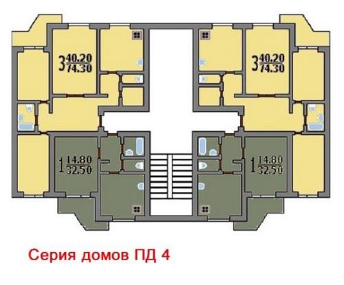 Схема типовой секции дома ПД 4
